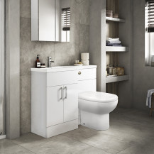 Austin Left Hand White Gloss Combination Unit with Santorini Back to Wall Toilet