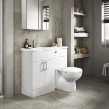 Austin Left Hand White Gloss Combination Unit with Sofia Back to Wall Toilet