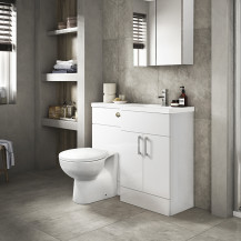 Austin Right Hand White Gloss Combination Unit with Sofia Back to Wall Toilet