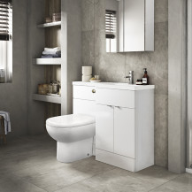 Austin Right Hand White Gloss Combination Unit with Santorini Back to Wall Toilet