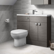Austin Grey Avola Cloakroom Combination Unit with Santorini back to wall toilet