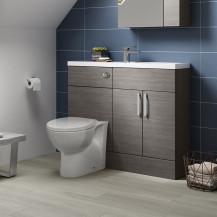 Atlanta Grey Avola Cloakroom Combination Unit with Sofia back to wall toilet