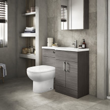 Austin Right Hand Grey Avola Combination Unit with Santorini back to wall toilet