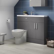 Atlanta Grey Gloss Cloakroom Combination Unit with Sofia back to wall toilet