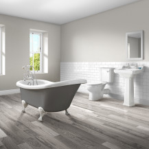 1500 Nottingham Grey Slipper Bath with Park Royal Bathroom Suite