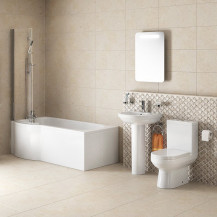 Dee Left Hand P Shape Shower Bath Suite