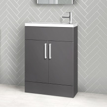 Austin 600mm Grey Gloss Freestanding Slimline Two Door Vanity Unit