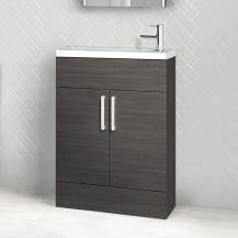 Austin 600mm Grey Avola Freestanding Slimline Two Door Vanity Unit
