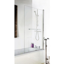 Straight Top Single Bath Screen With Towel Rail 6mm