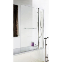 Straight Top Hinged 1435 x 1005 Double Bath Screen with Towel Rail 6mm