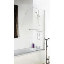 Curved Top Hinged Bath Shower Screen with Towel Rail 6mm