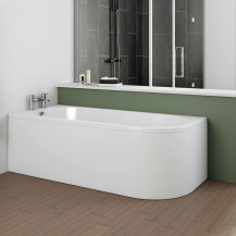 Portland 1700 x 750 J Shaped Left Hand Bath with Front Panel