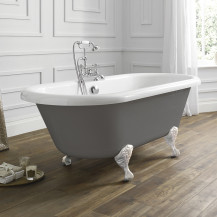 Nottingham 1700 x 750 x 450 Straight Freestanding Dove Grey Bath With White Feet