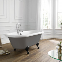 Nottingham 1700 x 750 x 450 Straight Freestanding Dove Grey Bath With Black Feet