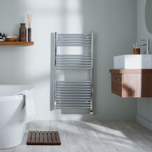 Basilicata Electric 1186 x 450 Chrome Towel Rail
