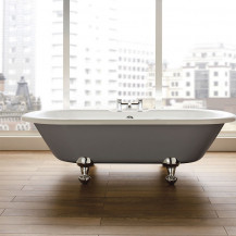 Nottingham 1700 x 750 x 450 Straight Freestanding Dove Grey Bath With Chrome Feet