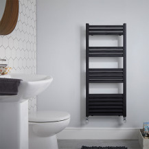 Venetian 1200 x 500 Matt Black Aluminium Heated Towel Rail