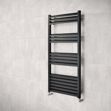 Venetian 1000 x 500 Matt Black Aluminium Heated Towel Rail