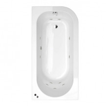 1600 x 800 Micro™ Luxury Left Handed 11 Jet Whirlpool Shower Bath With Straight Bath Screen