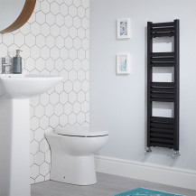 Venetian 1000 x 300 Matt Black Aluminium Heated Towel Rail