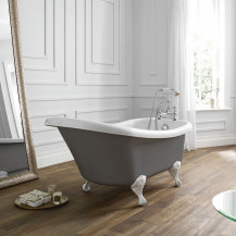 Nottingham 1500 x 750 x 570 Slipper Freestanding Dove Grey Bath With White Feet