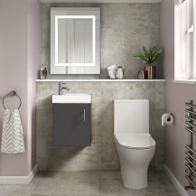 Ashford Cloakroom Grey 400 Wall Hung Vanity Unit with Indiana Short Projection Toilet and Seat