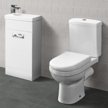 Aspen™ Compact White 410 Vanity Unit with Albury Short Projection Toilet and Seat
