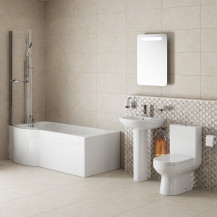 Maine P Shape Left Hand Shower Bath Suite