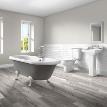 1700 Nottingham Grey Double Ended Bath with Park Royal Bathroom Suite