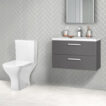Austin 800 Grey Gloss Wall Hung Vanity Unit with Austin Toilet