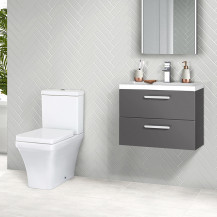 Austin 800 Grey Gloss Wall Hung Vanity Unit with Montana Toilet