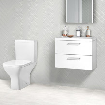 Austin 600 White Gloss Wall Hung Vanity Unit with Austin Toilet
