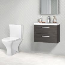 Austin 600 Grey Avola Wall Mounted Vanity Unit with Austin Toilet