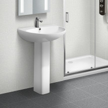Portland 550mm 1 Tap Hole Basin and Pedestal