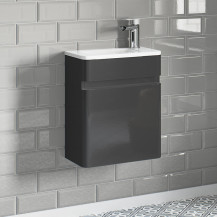 Portland 410 Wall Mounted Storm Grey Gloss Vanity Unit