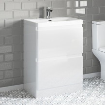 Portland 600 Floor Standing Ice White Gloss Vanity Unit