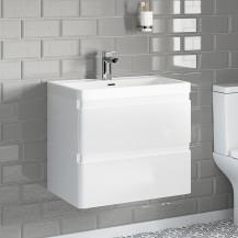 Portland 600 Wall Mounted Ice White Gloss Vanity Unit