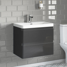 Portland 600 Wall Mounted Storm Grey Gloss Vanity Unit