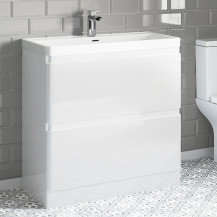 Portland 800 Floor Standing Ice White Gloss Vanity Unit