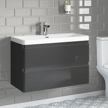 Portland 800 Wall Mounted Storm Grey Gloss Vanity Unit