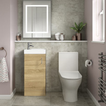 Ashford Cloakroom Natural Oak 400 Vanity Unit with Indiana Short Projection Toilet and Seat