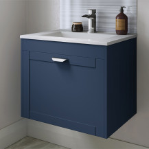 Nottingham Indigo Blue 600 Single Drawer Wall Hung Vanity Unit