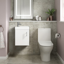 Ashford Cloakroom White 400 Wall Hung Vanity Unit with Indiana Short Projection Toilet and Seat