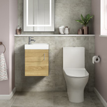 Ashford Cloakroom Natural Oak 400 Wall Hung Vanity Unit with Indiana Short Projection Toilet and Seat