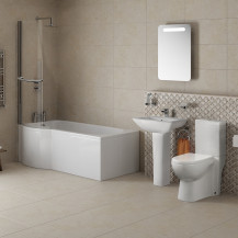 P Shaped 1675 Left Hand Shower Bath, Front Panel, Screen & Veneto Suite