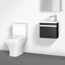 Vigo 420mm Wall Mounted Black Vanity Unit with Chicago Toilet
