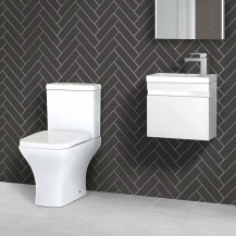Vigo 420mm Wall Mounted White Vanity Unit with Chicago Toilet