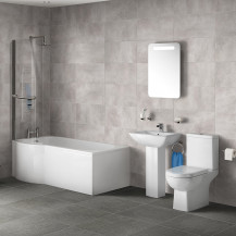 P Shaped 1700 Left Hand Shower Bath, Front Panel, Screen & Salou Suite