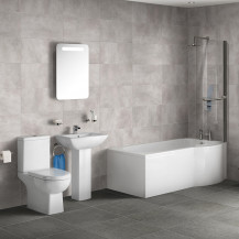 P Shaped 1675 Right Hand Shower Bath, Front Panel, Screen & Salou Suite