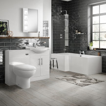 Windsor 55 Combination Unit & Santorini Back to Wall Toilet with Left Hand L-Shape Bath